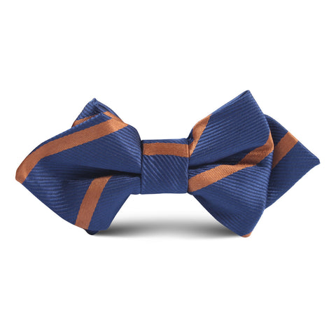 Navy Blue Striped Brown Kids Diamond Bow Tie