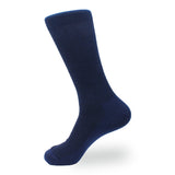 Navy Blue Textured Cotton-Blend  Socks