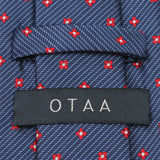 Navy Blue Tie with Red Pattern Back