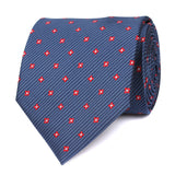 Navy Blue Tie with Red Pattern Front View