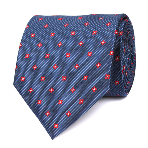 Navy Blue Tie with Red Pattern