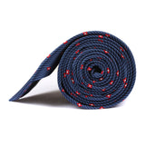 Navy Blue Tie with Red Pattern Side View