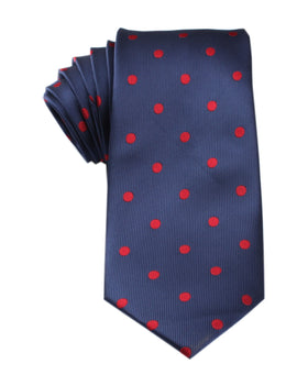 Navy Blue Tie with Red Polka Dots