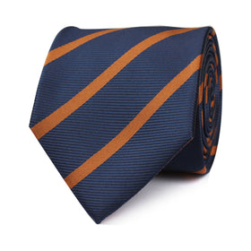 Navy Blue Tie with Striped Brown