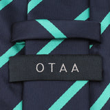 Navy Blue Tie with Striped Light Blue Back