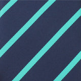 Navy Blue Tie with Striped Light Blue  Fabric
