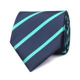 Navy Blue Tie with Striped Light Blue Front View