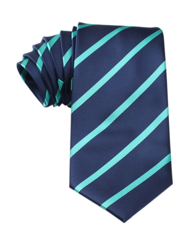 Navy Blue Tie with Striped Light Blue