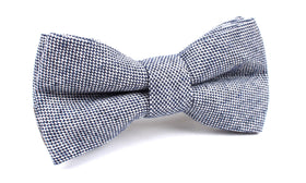Navy Blue Tweed Linen Stitching Bow Tie