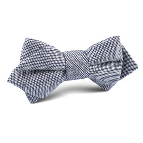 Navy Blue Tweed Linen Stitching Diamond Bow Tie