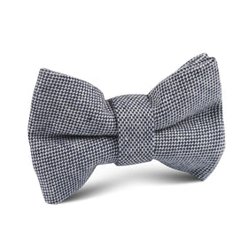Navy Blue Tweed Linen Stitching Kids Bow Tie