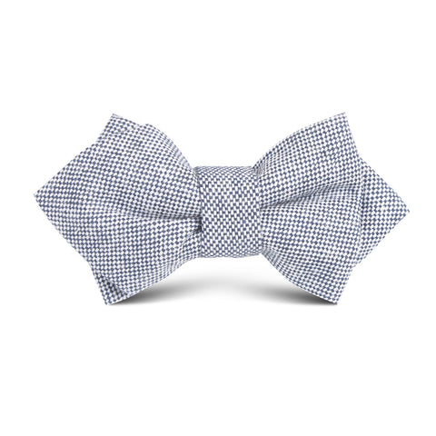 Navy Blue Tweed Linen Stitching Kids Diamond Bow Tie