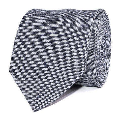 Navy Blue Tweed Linen Stitching Necktie