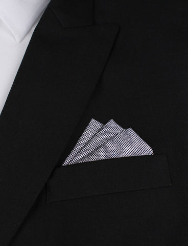 Navy Blue Tweed Linen Stitching Pocket Square