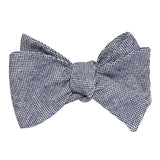 Navy Blue Tweed Linen Stitching Self Tie Bow Tie 1