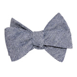 Navy Blue Tweed Linen Stitching Self Tie Bow Tie 2