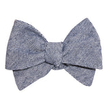 Navy Blue Tweed Linen Stitching Self Tie Bow Tie 3
