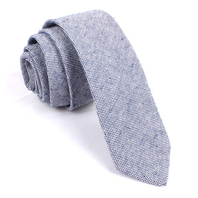 Navy Blue Tweed Linen Stitching Skinny Tie