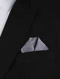 Navy Blue Tweed Linen Stitching Winged Puff Pocket Square Fold