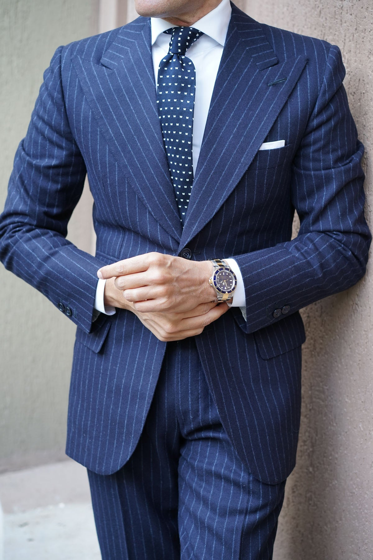 Navy Blue W M Knitted Tie