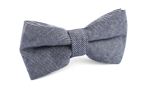 Navy Blue & White Twill Stripe Linen Bow Tie