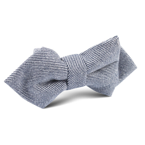 Navy Blue & White Twill Stripe Linen Diamond Bow Tie