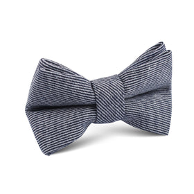 Navy Blue & White Twill Stripe Linen Kids Bow Tie