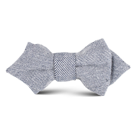 Navy Blue & White Twill Stripe Linen Kids Diamond Bow Tie