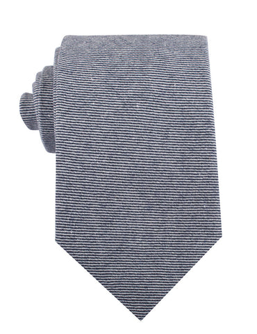 Navy Blue & White Twill Stripe Linen Necktie