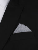 Navy Blue & White Twill Stripe Linen Oxygen Three Point Pocket Square Fold