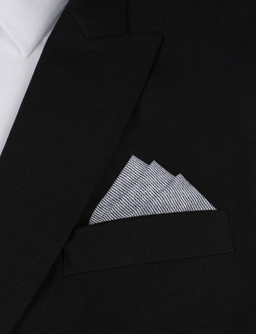 Navy Blue & White Twill Stripe Linen Pocket Square