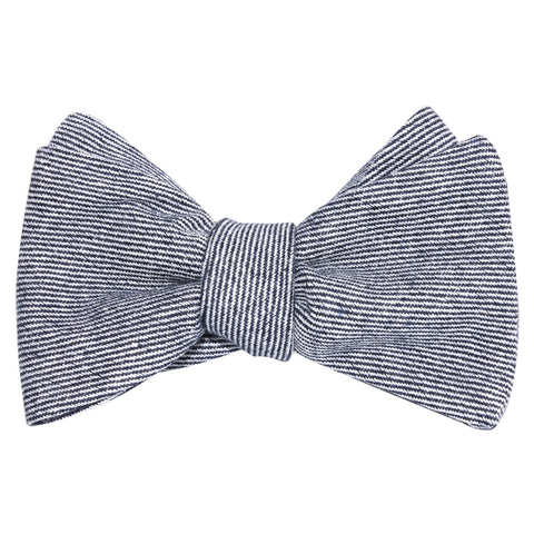 Navy Blue & White Twill Stripe Linen Self Tie Bow Tie