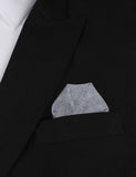 Navy Blue & White Twill Stripe Linen Winged Puff Pocket Square Fold