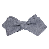 Navy Blue & White Twill Stripe Linen Self Tie Diamond Tip Bow Tie 2