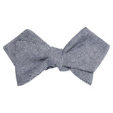 Navy Blue & White Twill Stripe Linen Self Tie Diamond Tip Bow Tie 1