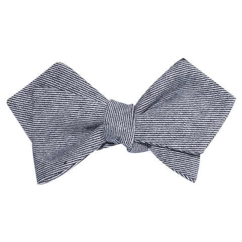 Navy Blue & White Twill Stripe Linen Self Tie Diamond Tip Bow Tie