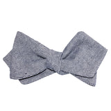 Navy Blue & White Twill Stripe Linen Self Tie Diamond Tip Bow Tie 3