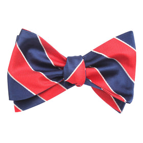 Navy Blue White and Red Diagonal - Bow Tie (Untied)
