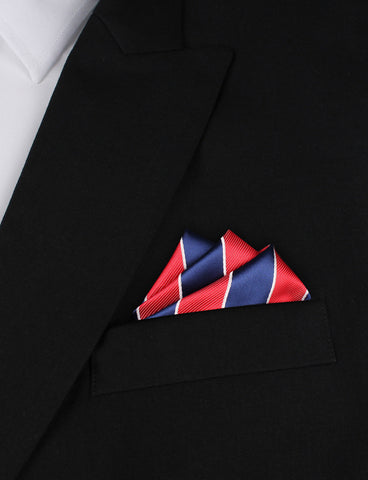 Navy Blue White and Red Diagonal - Pocket Square