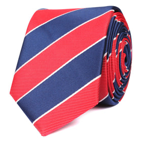 Navy Blue White and Red Diagonal Skinny Tie