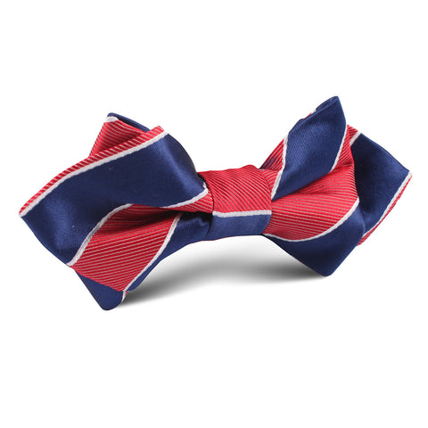 Navy Blue White and Red Diagonal Diamond Bow Tie