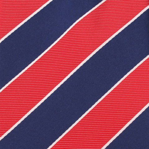 Navy Blue White and Red Diagonal Pocket Square