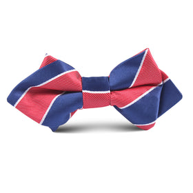Navy Blue White and Red Diagonal Kids Diamond Bow Tie