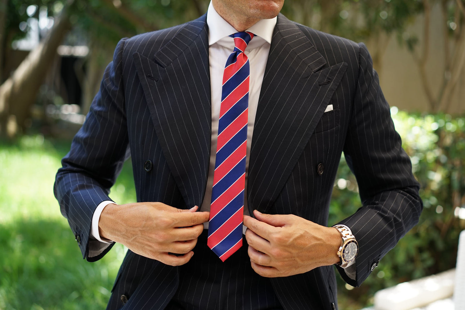 Navy Blue White and Red Diagonal Tie