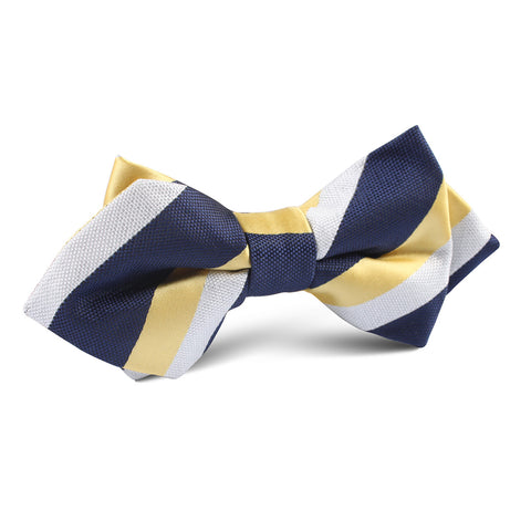 Navy Blue & Yellow Stripe Diamond Bow Tie