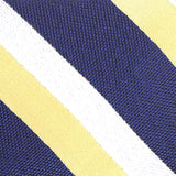 Navy Blue & Yellow Stripe Fabric Self Tie Diamond Tip Bow Tie M109
