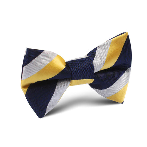 Navy Blue & Yellow Stripe Kids Bow Tie