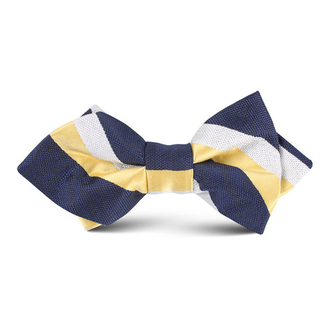 Navy Blue & Yellow Stripe Kids Diamond Bow Tie