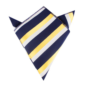 Navy Blue & Yellow Stripe Pocket Square