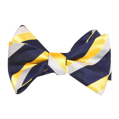 Navy Blue & Yellow Stripe Self Tie Bow Tie